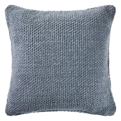 LR Home Wendy Frost Blue Woven Solid Casual Textured Poly-fill 20 in. x 20 in. Throw Pillow