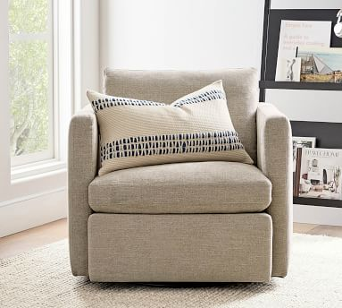 Menlo Upholstered Swivel Armchair, Polyester Wrapped Cushions, Performance Boucle Pebble
