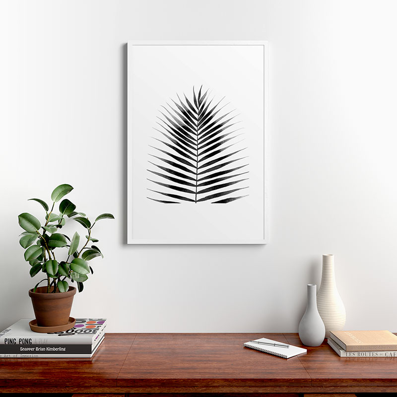 """Palm Leaf Watercolor, Black & White, by Kris Kivu - Modern Framed Art Print, White, 24"""" x 36"""""""