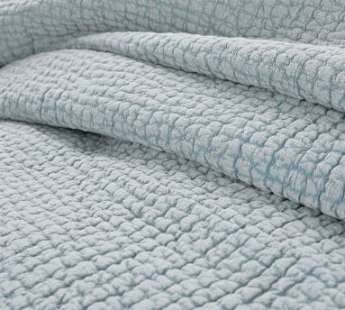 Stonewashed Pickstitch Cotton Quilt, King/Cal King, Sky Blue