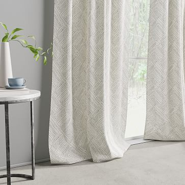 """Cotton Canvas Fragmented Lines Curtains, 48""""x96"""", Iron Gate - Set of 2"""