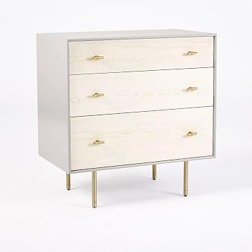Modernist Wood + Lacquer 3-Drawer Dresser - Winter Wood