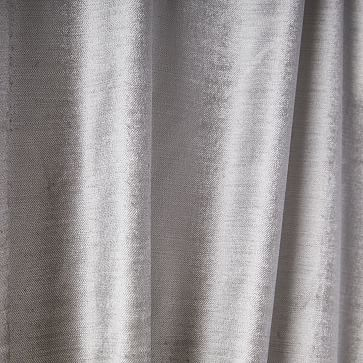 "Luster Velvet Curtain + Blackout Panel, Set of 2, Platinum 48""x84"""