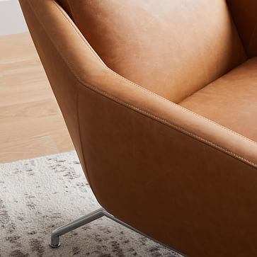 Austin Stationary Chair, Leather, Sesame,  dark pewter legs