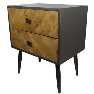 Reid Rustic Wood 2 Drawer Nightstand Wayfair