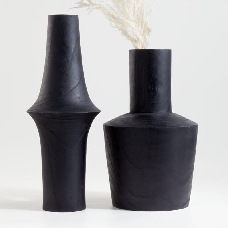 Arllon Large Black Wood Vase