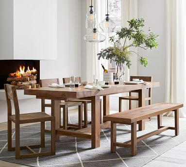 Reed Extending Dining Table, Warm Black,
