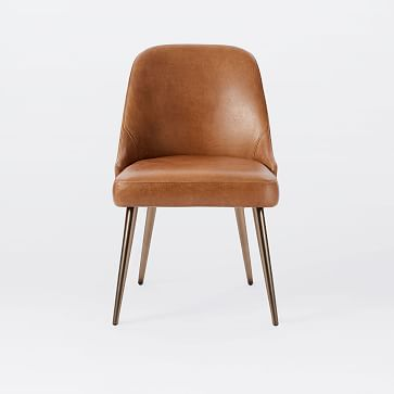 Mid-Century Upholstered Dining Chair, Sierra Leather, Black, Pecan