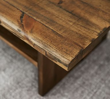 Easton Reclaimed Wood Coffee Table, Weathered Elm