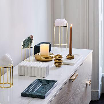 Marble Vanity Tray, White & Green, Set of 2