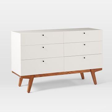 Modern 6-Drawer Dresser, White Lacquer