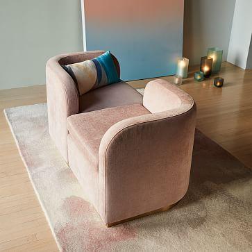 Roar + Rabbit Tete-a-Tete Chair, Set of 2, Performance Velvet, Clay, Antique Brass