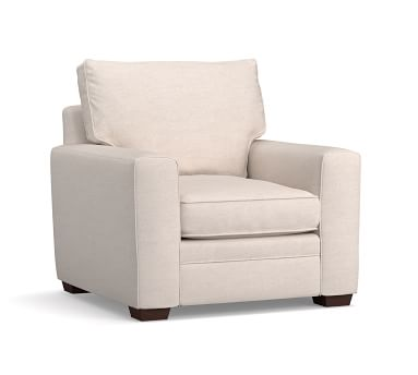 Pearce Square Arm Upholstered Armchair, Down Blend Wrapped Cushions, Performance Heathered Basketweave Dove