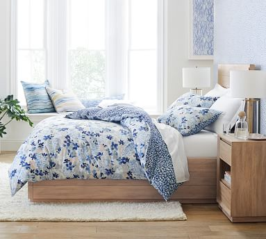 Rebecca Atwood Blossom Reversible Organic Percale Duvet Cover, King/Cal King, Multi