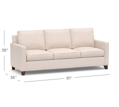 Cameron Square Arm Upholstered Side Sleeper Sofa, Polyester Wrapped Cushions, Brushed Crossweave Light Gray