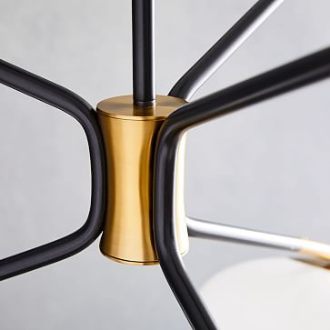 Champignon 3-Light Chandelier, Milk Glass, Antique Brass