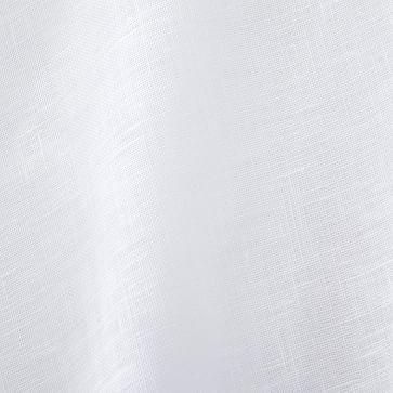 """Sheer Belgian Flax Linen Curtain, White, 48"""" x 108"""", Unlined, Individual"""
