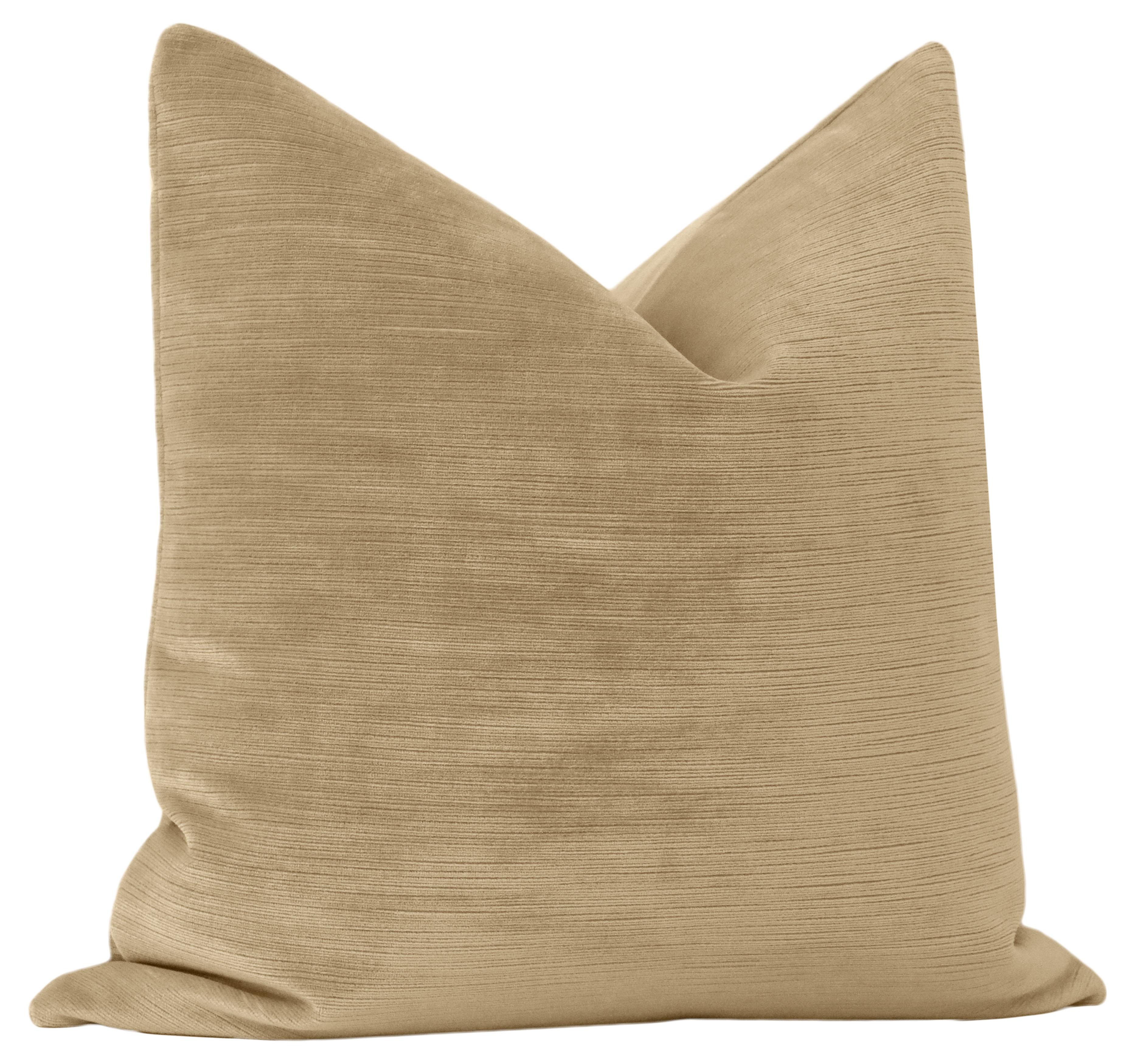 """Strie Velvet Pillow Cover, Nutmeg, 18"""" x 18"""""""