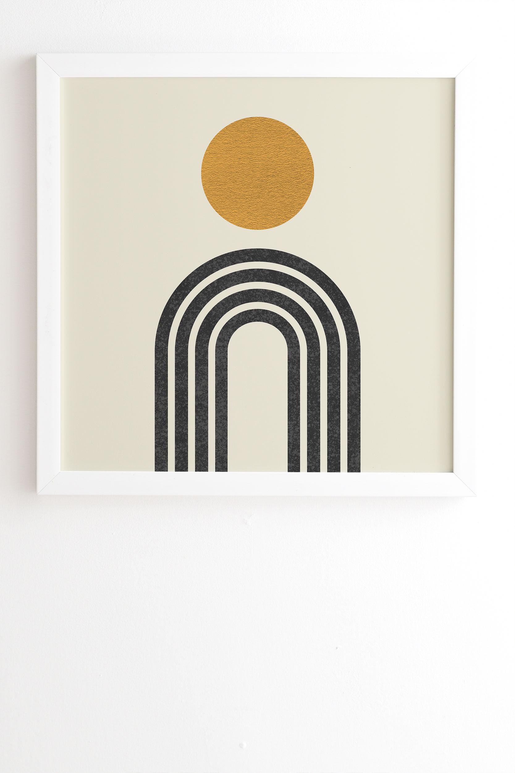 "Mid Century Modern Gold Sun by MoonlightPrint - Framed Wall Art Basic White 19"" x 22.4"""