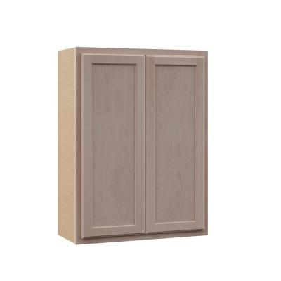 Hampton Bay Hampton Assembled 27x36x12 in. Wall Cabinet in Unfinished Beech