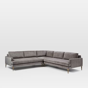 Andes Petite Sectional Set 43: Left Arm 2.5 Seater Sofa, Corner, Right Arm 2.5 Seater Sofa, Poly, Distressed Velvet, Burnt Umber, Blackened Brass