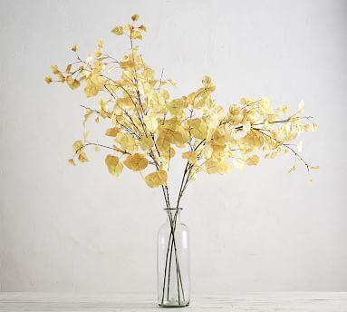 Faux Autumn Aspen Tree Branch, Yellow, One