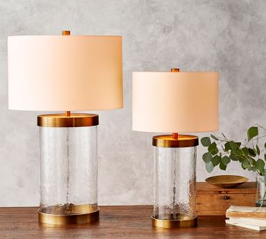 """Murano Metal & Glass 24"""" Table Lamp & Medium Stright-Sided Gallery Shade, Bronze Base/White Shade-Small, 24"""""""