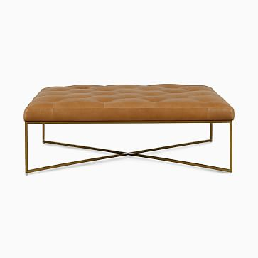 Maeve Square Ottoman Tan Chalk Leather Stainless Steel