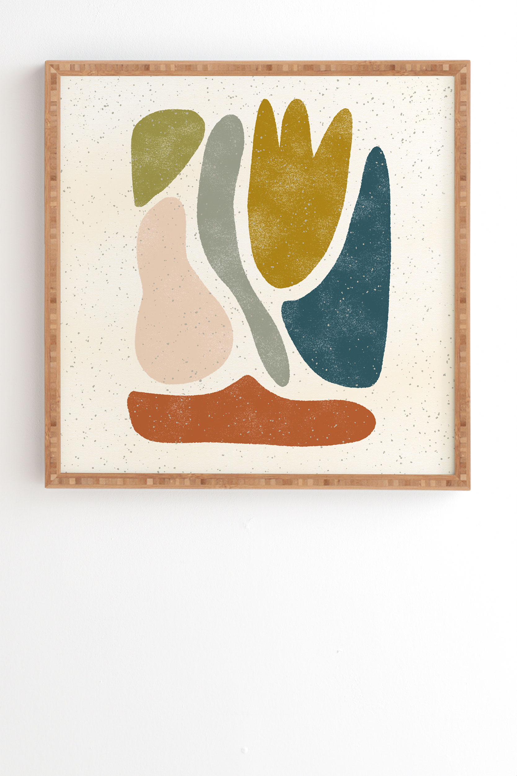"""Blob Shapes by Pauline Stanley - Framed Wall Art Bamboo 19"""" x 22.4"""""""