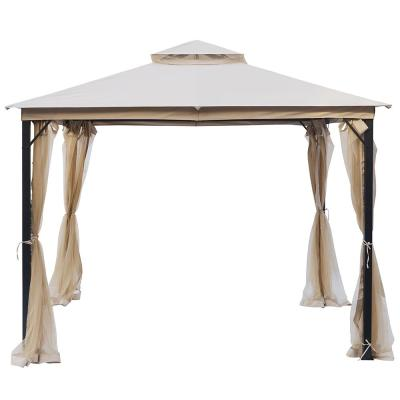 LAUREL CANYON 10 ft. x 10 ft. Outdoor Steel Patio Gazebo with 2-Tier UV-Protected Soft Top and Netting, Beige / Cream