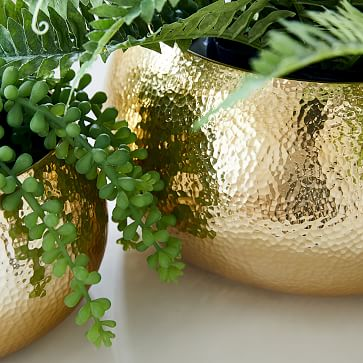 Hammered Metal Planter, Small Round, Polished Brass