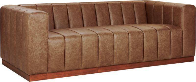 Forte Channeled Saddle Leather Sofa