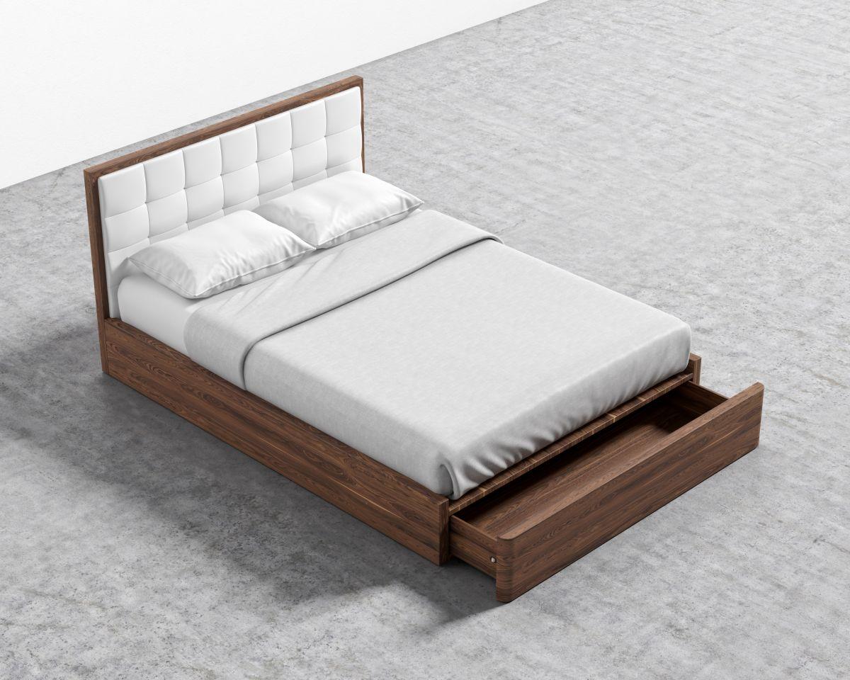 Charlotte Storage Bed - Queen Walnut Veneer Monaco White