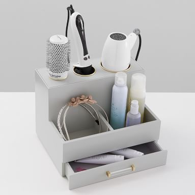 Elle Lacquer Hair Tools Organizer, Gray/Gold