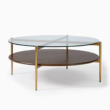 Art Display Coffee Table, XL Round, Wood, Metal, Glass