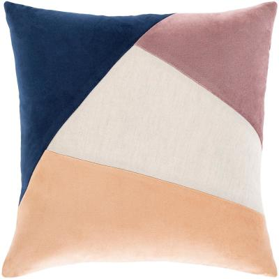 Artistic Weavers Yusri Peach/Multi-Color 22 in. x 22 in. Poly Throw Pillow, Peach/Navy/Eggplant