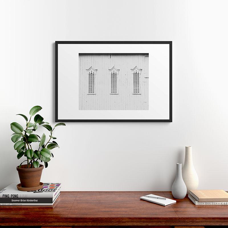 "Rustic White, Barn by Ann Hudec, Modern Framed Art Print, Black, 24"" x 36"""