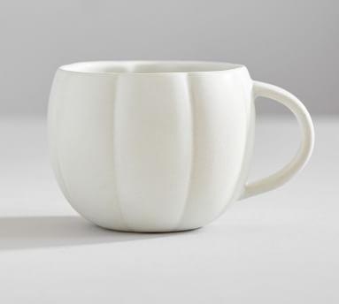 Pumpkin Shaped Stoneware Mug - White