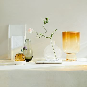"""Foundations Marble Tapered Vase, White, 13"""""""