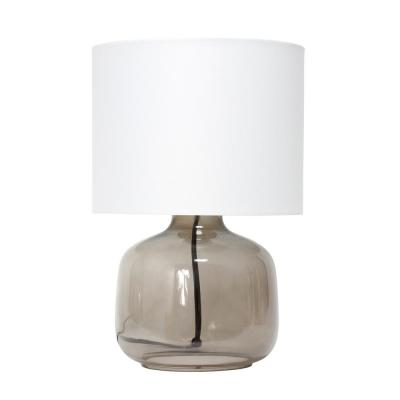 Simple Designs 13 inch Glass Table Lamp with Fabric Shade, Smoke with White Shade