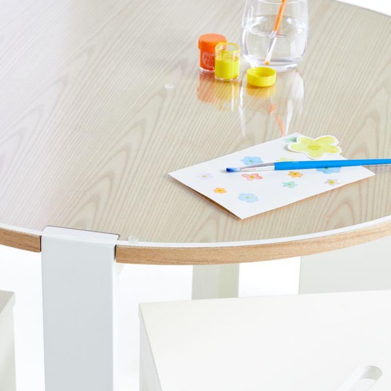 Nesting White and Natural Play Table, Chairs, and Acrylic Mat Set