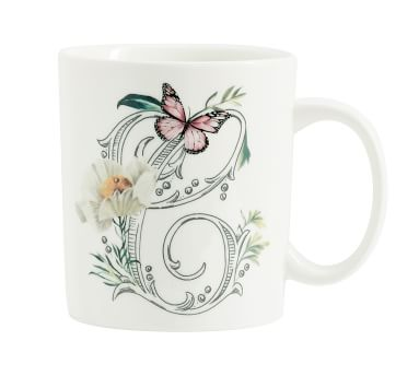 Monique Lhuillier Botanical Monogram Stoneware Mug - V