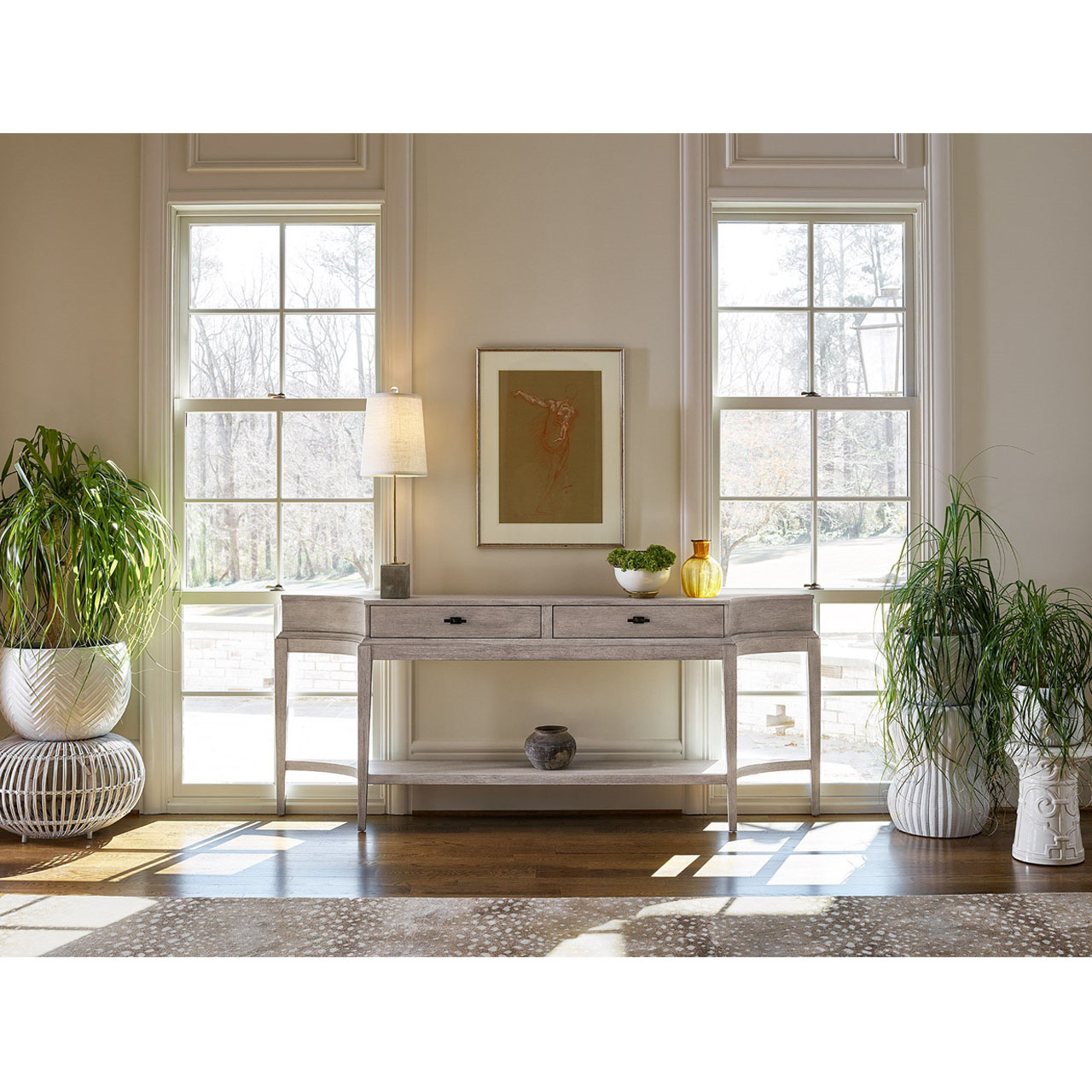 Adeline French Country Grey 2 Drawer Wood Console Table
