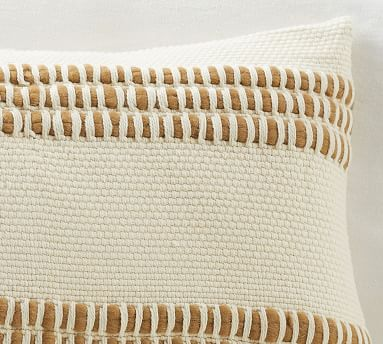 """Reed Striped Lumbar Pillow Cover, 16 x 26"""", Neutral"""