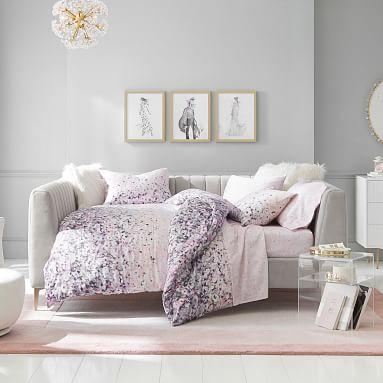 Monique Lhuillier Cherry Blossom Sateen Duvet Cover, Full/Queen, Blush Multi