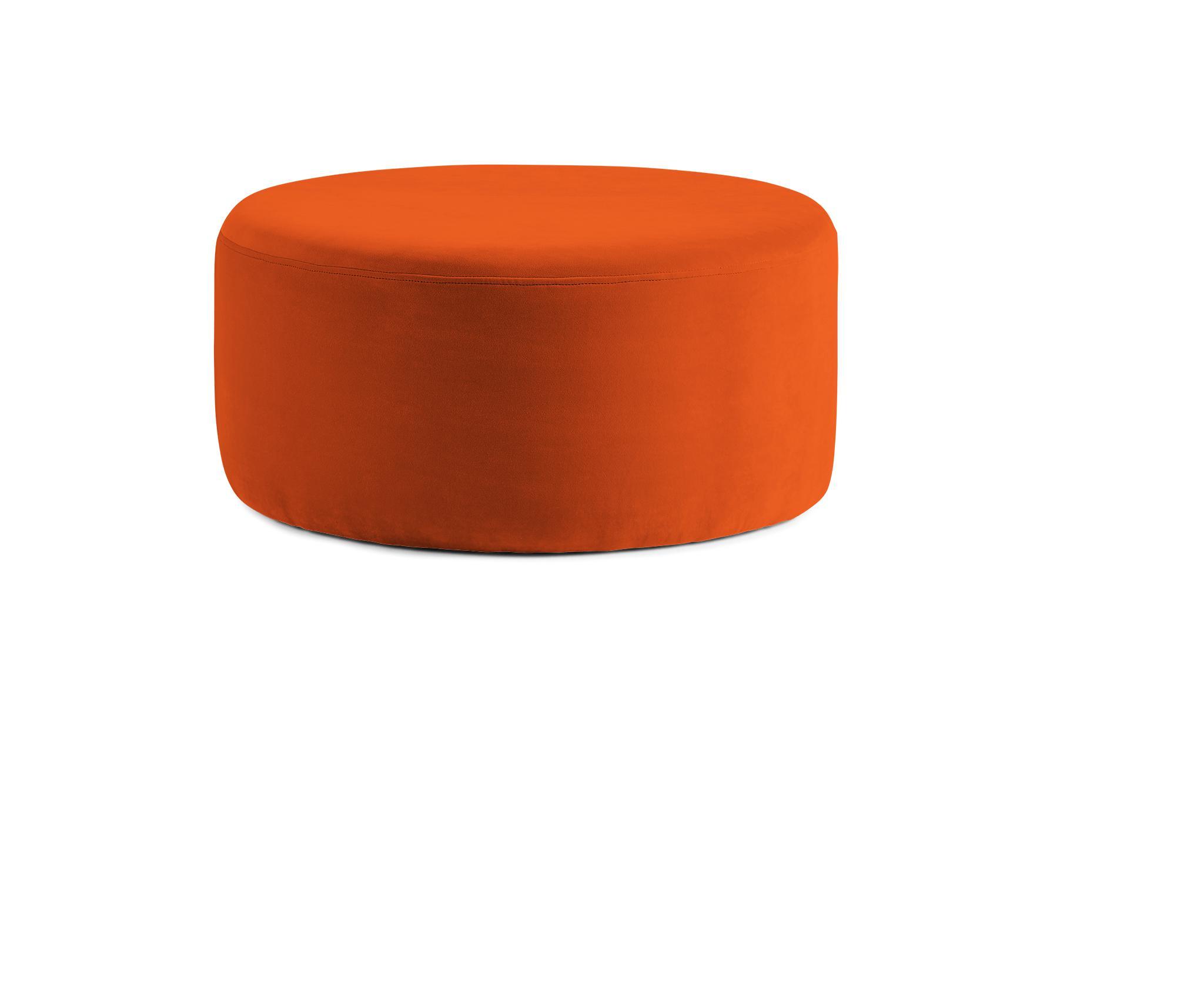 Orange Hanna Mid Century Modern Ottoman - Vibe Sunkist