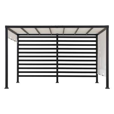 Sunjoy Sandy 12 ft. x 10 ft. Modern Steel Pergola with White Adjustable Shade, Blacks