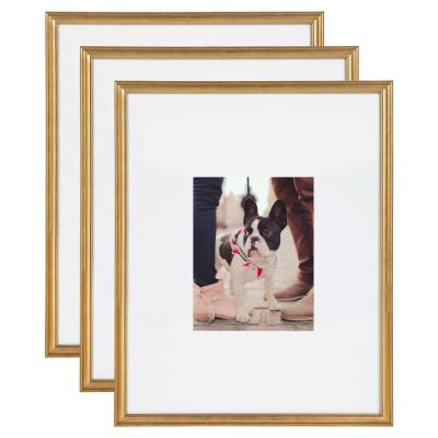 Kate and Laurel Adlynn 16 in. x 20 in. matted to 8 in. x10 in. Gold Picture Frames (Set of 3)
