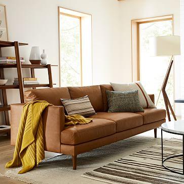 """Haven Loft 86"""" Sofa, Trillium, Ludlow Leather, Sesame, Pecan"""