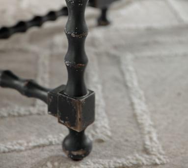 Stelio Rectangular Wood Coffee Table, Black & Distressed White